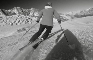 Rhiannon skiing in Saas-Fee
